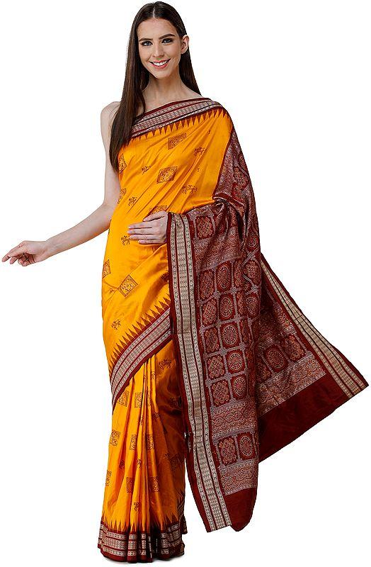 Radiant-Yellow Bomkai Sari from Orissa with Tribal Motifs and Hand-Woven Mandala Patterns on Pallu