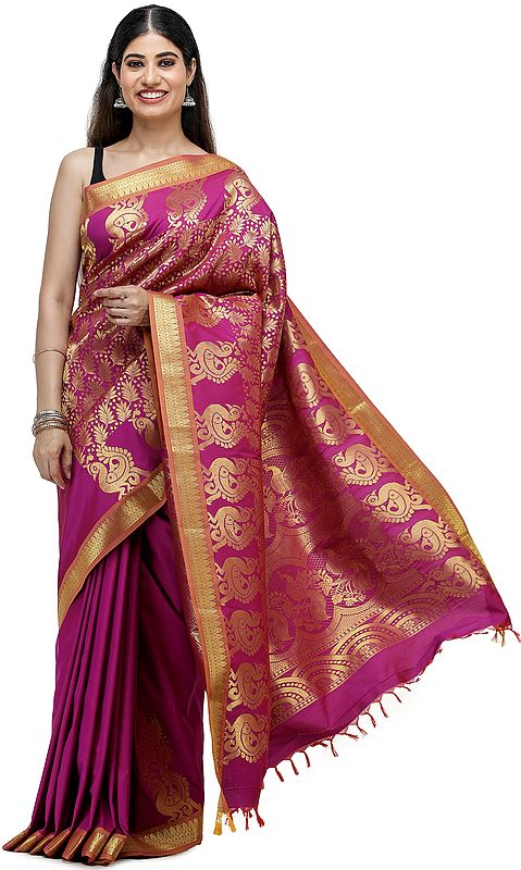 Festival-Fuschia Brocaded Sari with Woven Peacocks on Anchal and Leaf Motifs All Over
