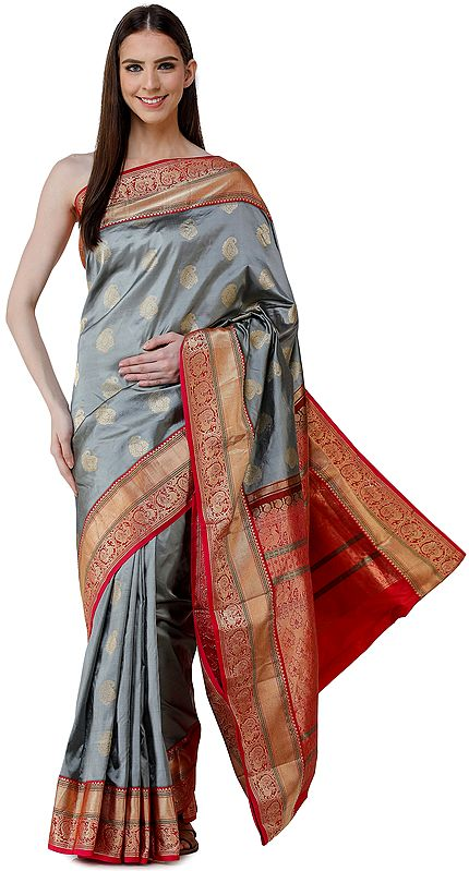 Silver Brocaded Uppada Sari from Bangalore with Zari Woven Peacocks on Border