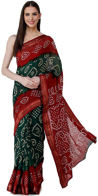 Garnet-Red and Dark-Green Bandhani Sari from Rajasthan with Woven Border