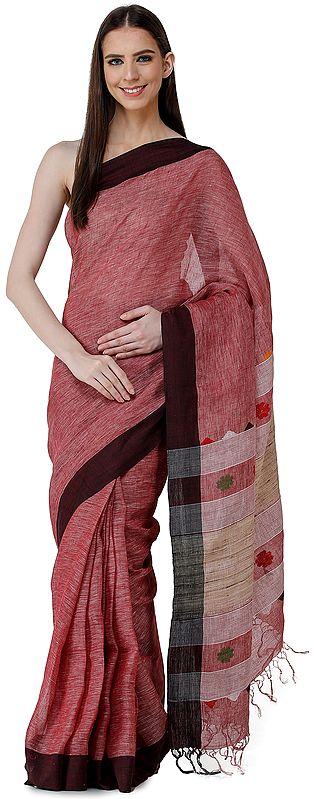 Mauvewood Handloom Pure Cotton Puja Sari from Bengal with Woven Border and Pallu