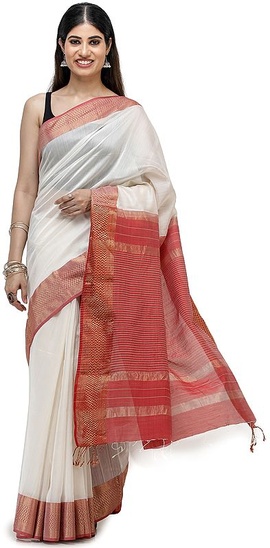 Maheshwari Handloom Sari with Golden Thread Weave on Border and Pin-Stripes