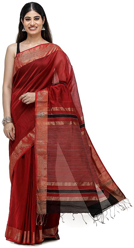 Maheshwari Handloom Sari with Golden Thread Weave on Border and Pin-Stripes