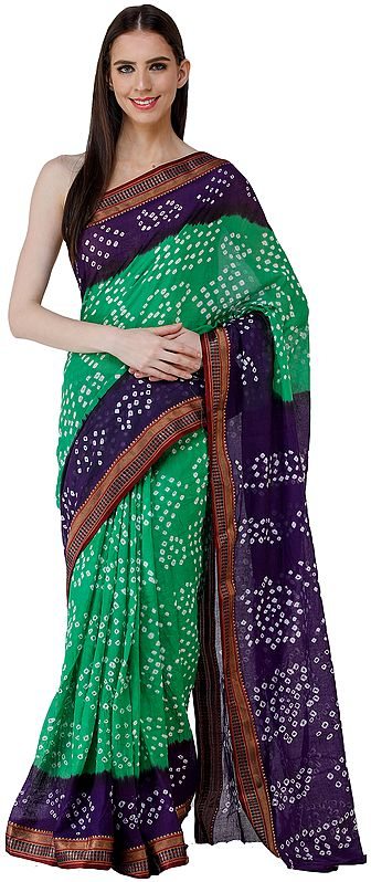 Peacock-Green and Violet Bandhani Sari from Rajasthan with Zari Weave on Border