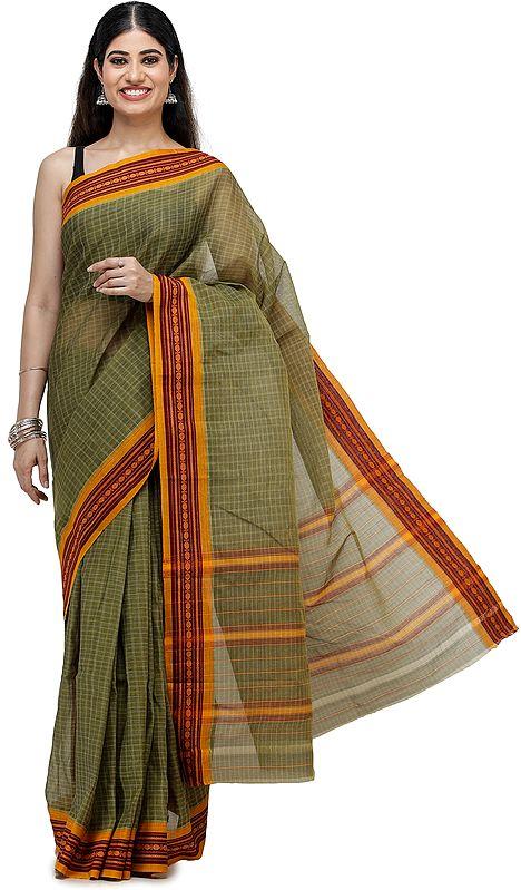Olive-Green Venkatagiri Sari from Chennai with Woven Border and Pin-stripes
