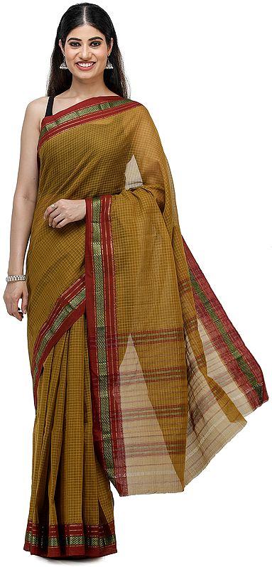 Golden-Palm Venkatagiri Cotton Sari from Chennai with Zari-Woven Border and Woven Checks