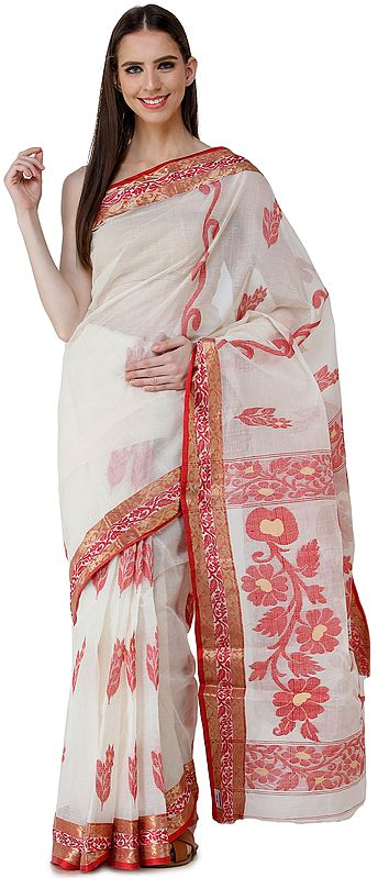 Ivory Purbasthali Handloom Sari from Bengal with Woven Border and Pallu