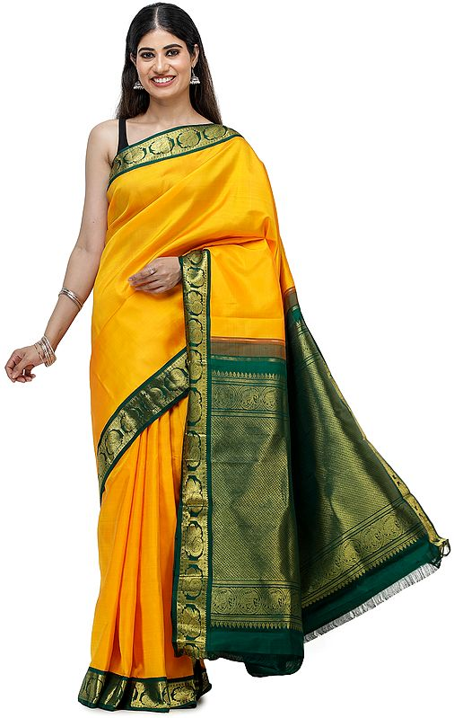 Bright-Marigold Brocaded Kanjivaram Sari from Chennai with Intricate Weave on Pallu