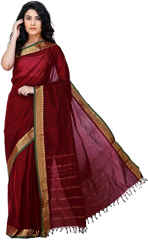 Garnet-Red Kanji-Cotton Sari from Chennai with Zari-Woven Border and Tassels