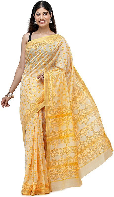 Sunset-Gold Maheshwari Handloom Sari from Madhya Pradesh with Block Printed Motifs and Woven Pin-Stripes