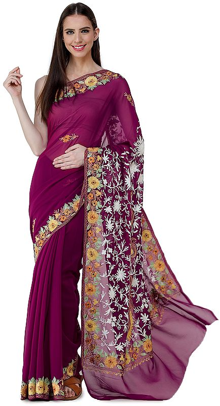 Boysenberry-Purple Sari from Kashmir with Ari-Embroidered Multicolor Flowers