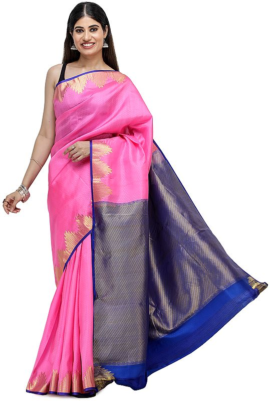 Fuchsia-Pink Sari from Chennai with Zari Woven Pallu and Temple Border