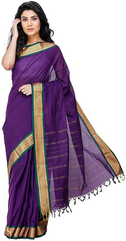 Imperial-Purple Kanji-Cotton Sari from Chennai with Zari-Woven Border and Tassels