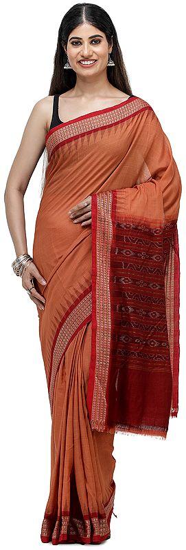 Rust-Brown Sambhalpuri Handloom Sari from Orissa with Ikat Woven Border and Pallu