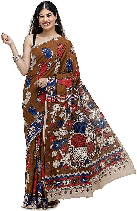 Caramel-Café Kalamkari Printed Cotton Sari with Dance Hand-Mudra Motifs All-Over