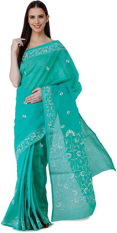 Waterfall-Green Lukhnavi Chikan Sari with Hand-Embroidered Flowers on Border and Pallu