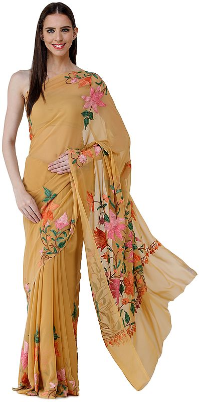 Amber-Gold Sari from Kashmir with Ari-Embroidered Multicolor Flowers