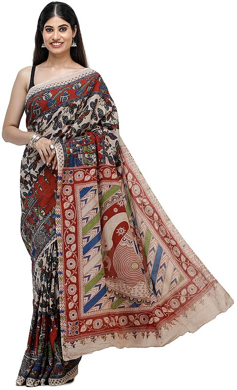 Moonlight-Brown Printed Cotton Sari with Butterfly Motifs All-Over