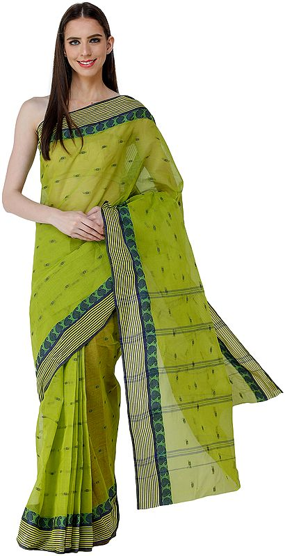 Apple-Green Tant Sari from Bengal with Woven Border and Stripes on Pallu
