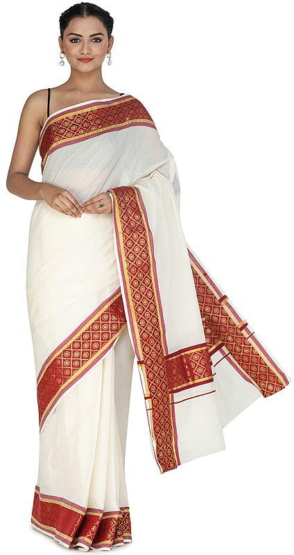 Antique-White Banarasi Cotton Sari with Brocaded Red Patch Border