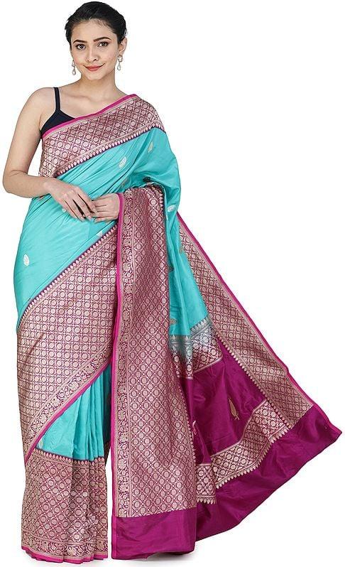 Ceramic-Blue Handloom Banarasi Silk Brocaded Sari with Heavy Fuchsia Border and Pallu