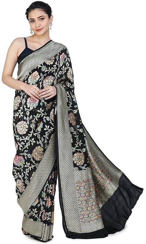 Black-Beauty Handloom Banarasi Sari with Brocaded Floral Motifs All-over and Heavy Pallu