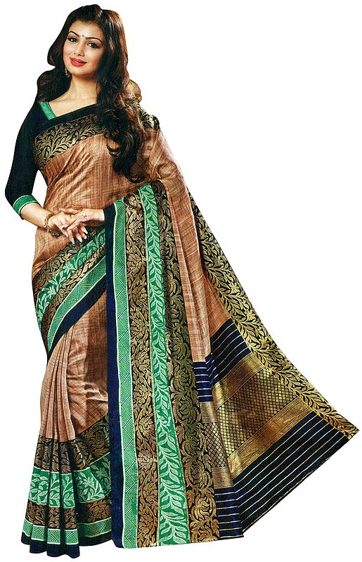 Mocha-Brown Silk Sari from Surat with Brocaded Blue-Green Border