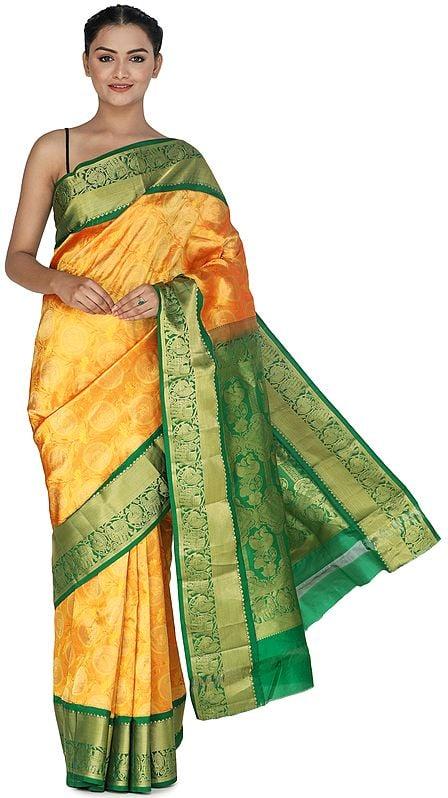 Zinnia-Yellow Brocaded Uppada Silk Sari from Bangalore with Green Border and Peacocks on Pallu