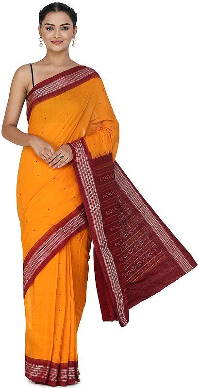 Dark-Cheddar Sambhalpuri Handloom Sari from Orissa with Ikat Woven Border and Pallu