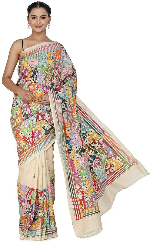 Sheer-Bliss Pure Silk Sari from Bengal with Kantha Hand-Embroidered Flowers and Heavy Pallu