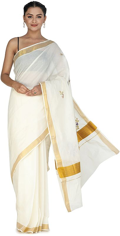 Winter-White Kasavu Sari from Kerala with Embroidered Flowers and Golden Border
