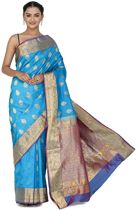 Methyl-Blue Brocaded Uppada Silk Sari from Bangalore with Green Border and Peacocks on Pallu