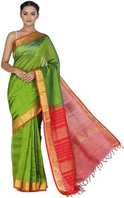 Forest-Green Silk Sari from Channai with Zari-Woven Border and Pallu