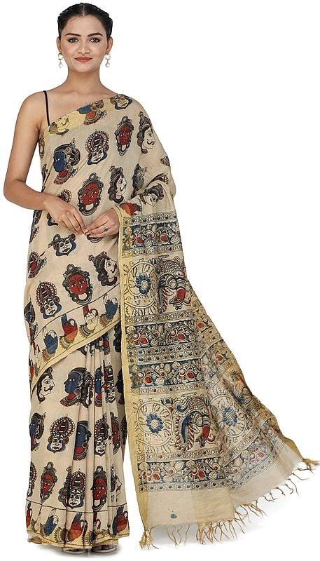 Beige Kalamkari Sari from Telangana with Goddess Laxmi and Peacocks on Pallu