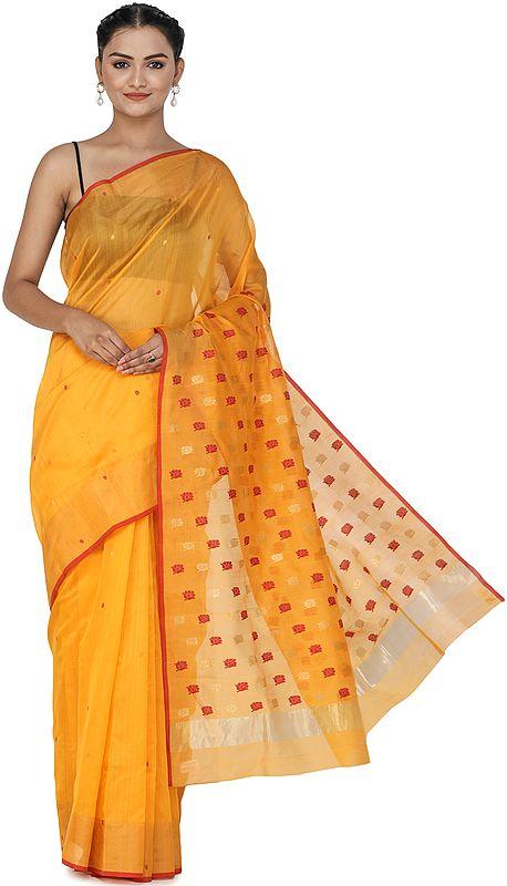 Orange-Pepper Chanderi Sari from Madhya Pradesh with Zari-Woven Border and Bootis