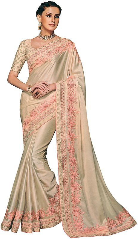 Chamomile Designer Sari with Floral Embroidery in Pink Thread and Beads
