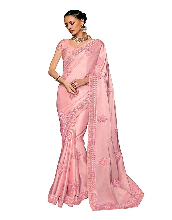 Crystal-Rose Designer Sari with Floral Embroidery in Pink Thread and Beads