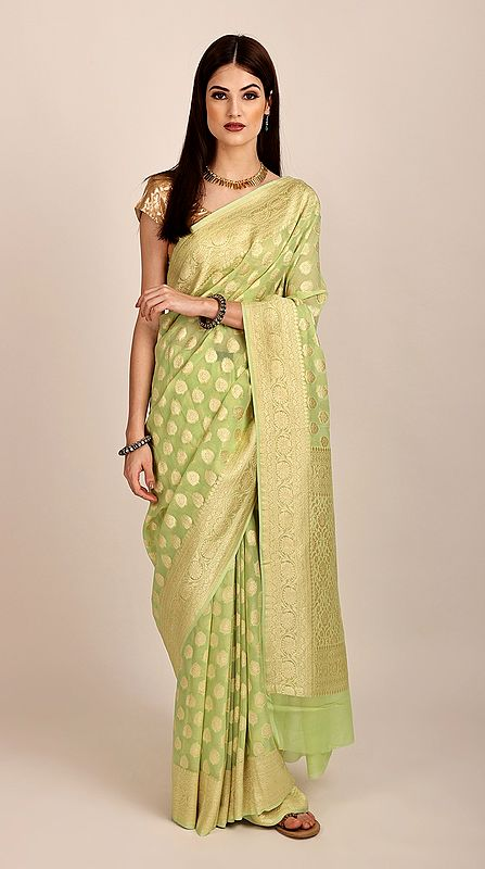 Elegant Pure Chiffon Green-Glow Banarasi Saree (Unstitched Blouse). Handloom Zari Woven | Handmade | Made in India