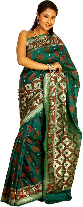 Storm-Green Banarasi Sari with All-Over Woven Leaves and Brocaded Anchal