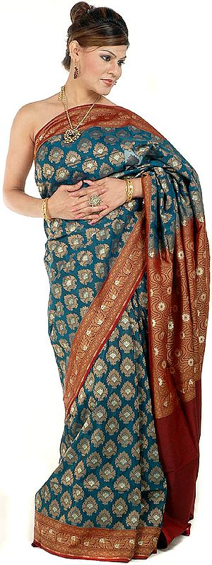 Teal Jamdani Banarasi Sari with Large Bootis Woven All-Over