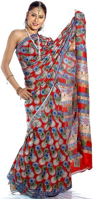 Tri-Color Floral Block-Printed Kalamkari Sari from Andhra Pradesh