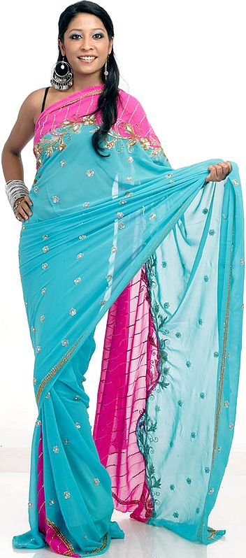 Turquoise and Magenta Mumtaz Sari with All-Over Sequins Embroidered as Flowers