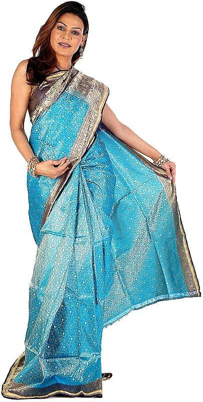 Turquoise Tanchoi Satin Sari Hand-Woven in Banaras