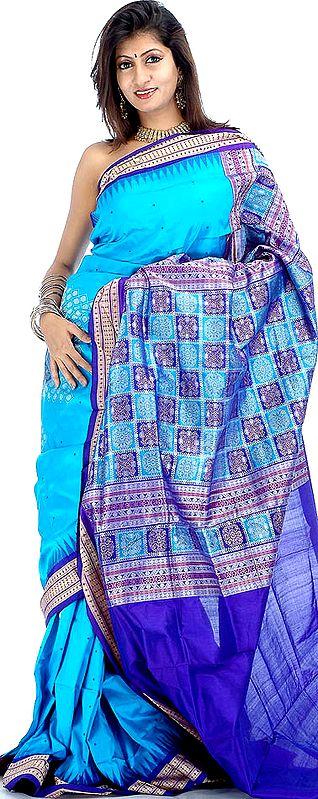 Turquoise-Blue Bomkai Sari with Temple Border Hand-Woven in Orissa