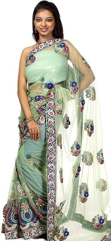 Zephyr-Green Designer Sari with Dense Crewel Embroidery and Zardozi Patch Border