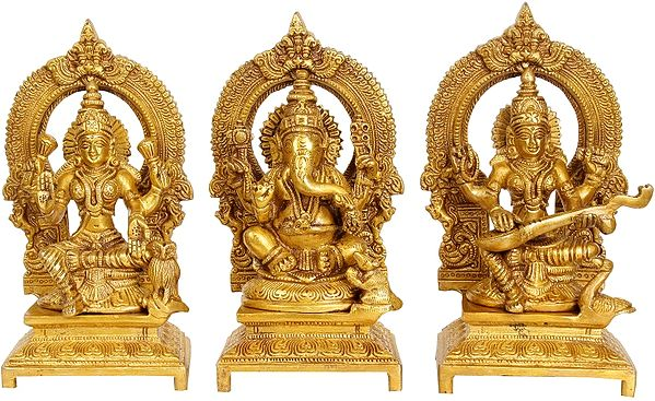 Ganesha, Lakshmi and Saraswati