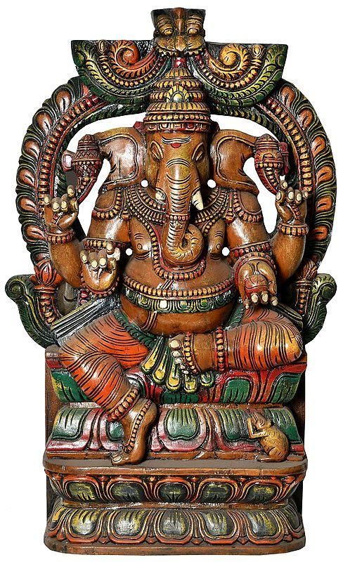 Ganesha Crowned with Kirtimukha (Large Size)