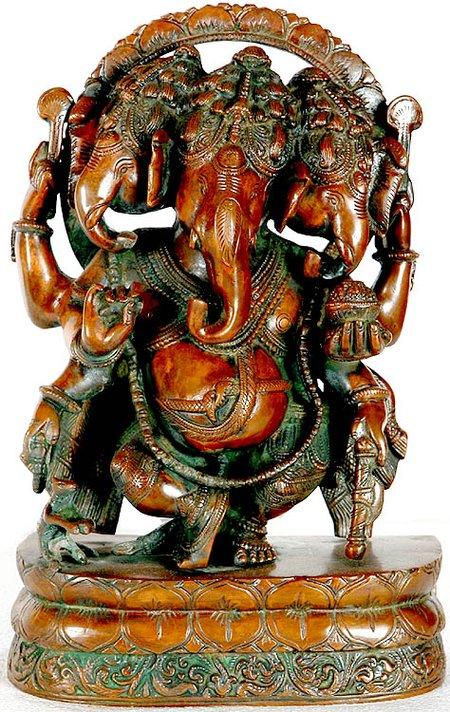 Trimukha Nrittya Ganesha