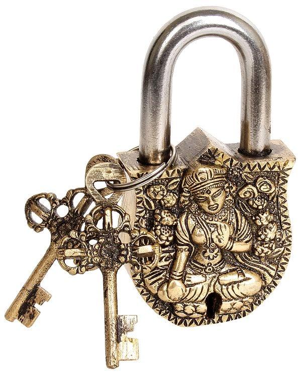 Tibetan Buddhist Goddess White Tara Temple Lock with Dorje Keys