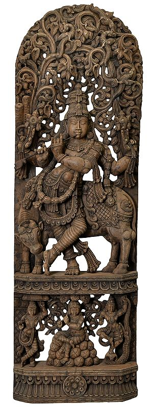 Very Large Size Murlidhar Krishna with Krishna Lilas on the Base